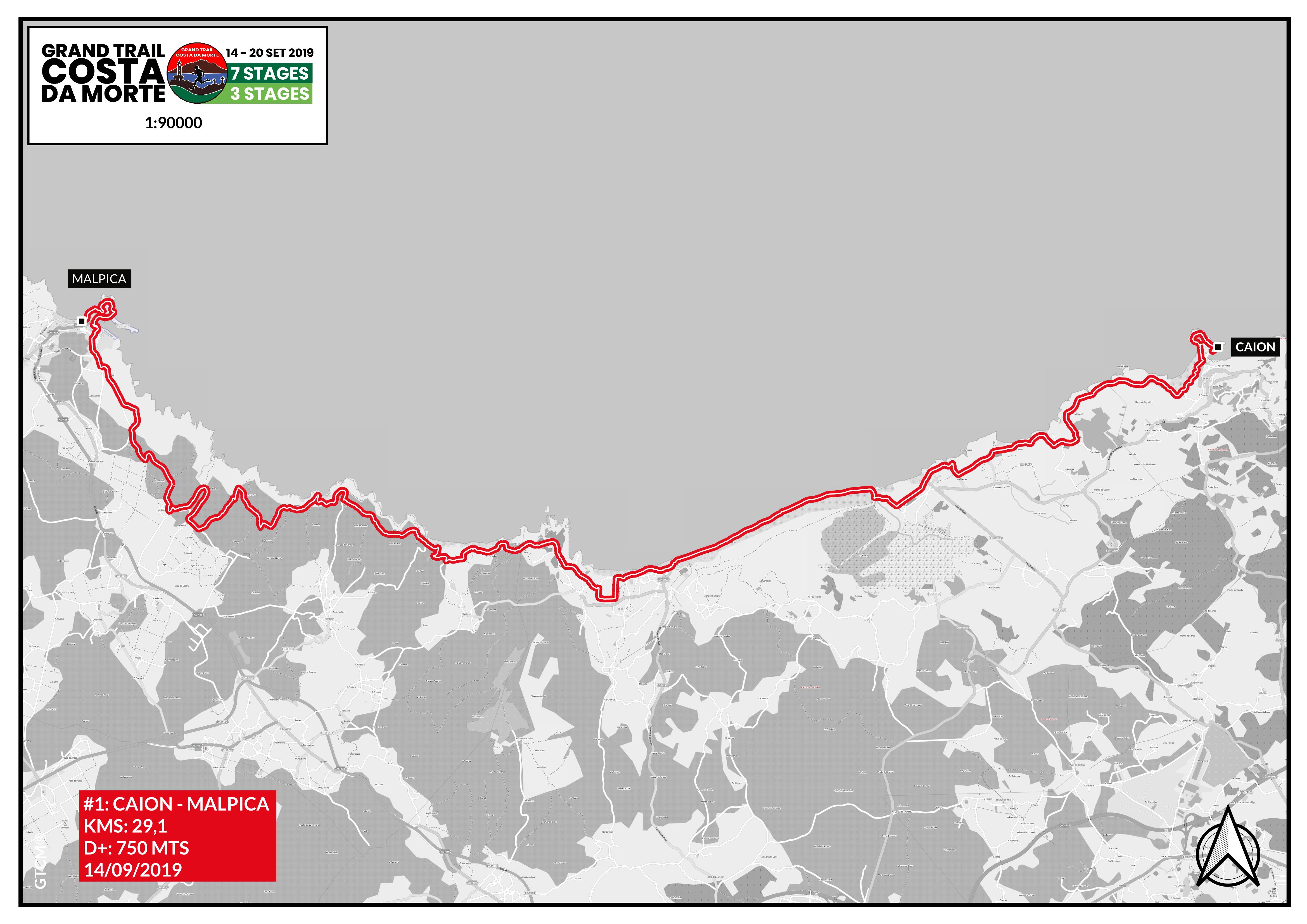 Mapa etapa 1 Caión - Malpica