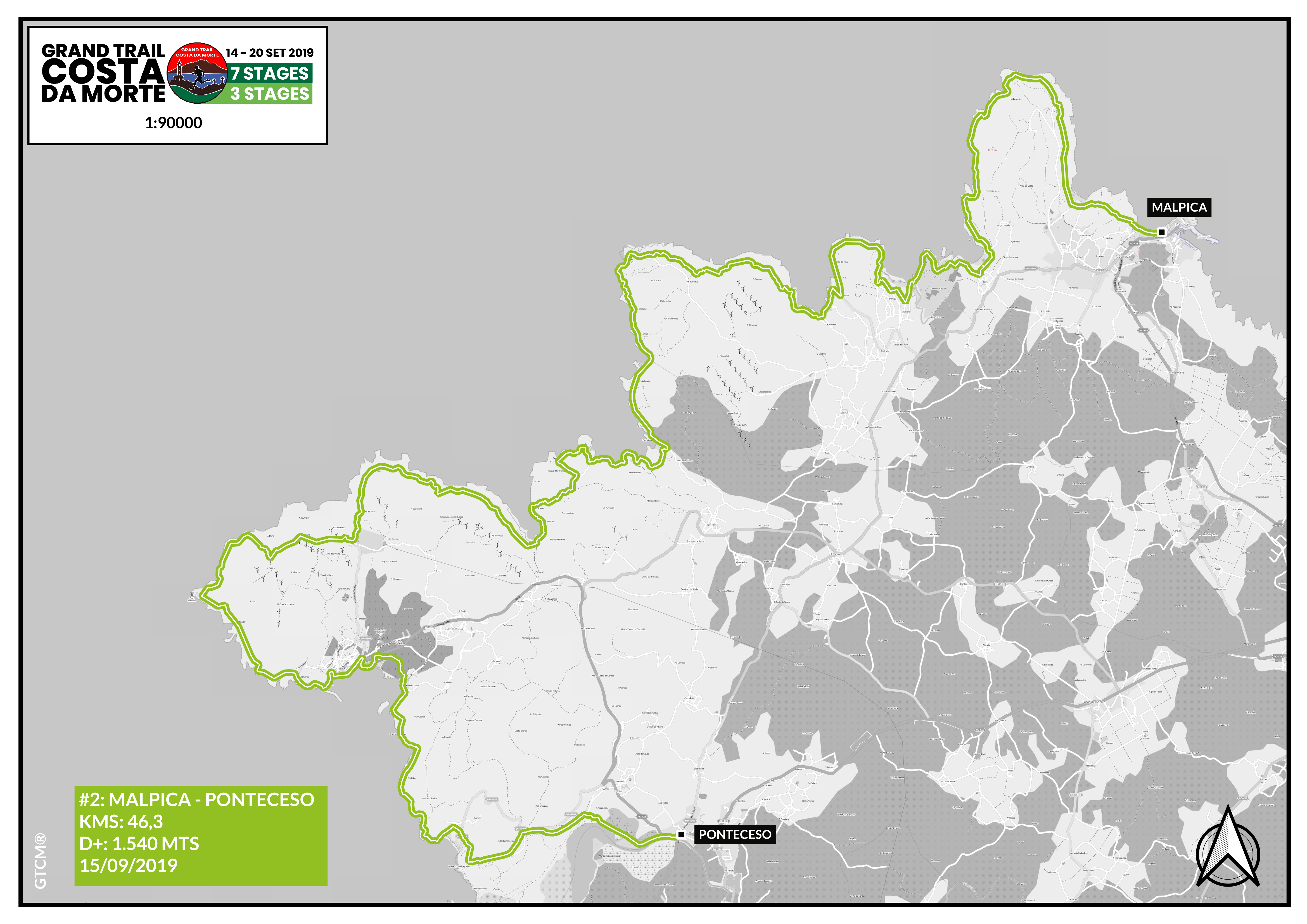 Mapa etapa 2 Malpica - Ponteceso