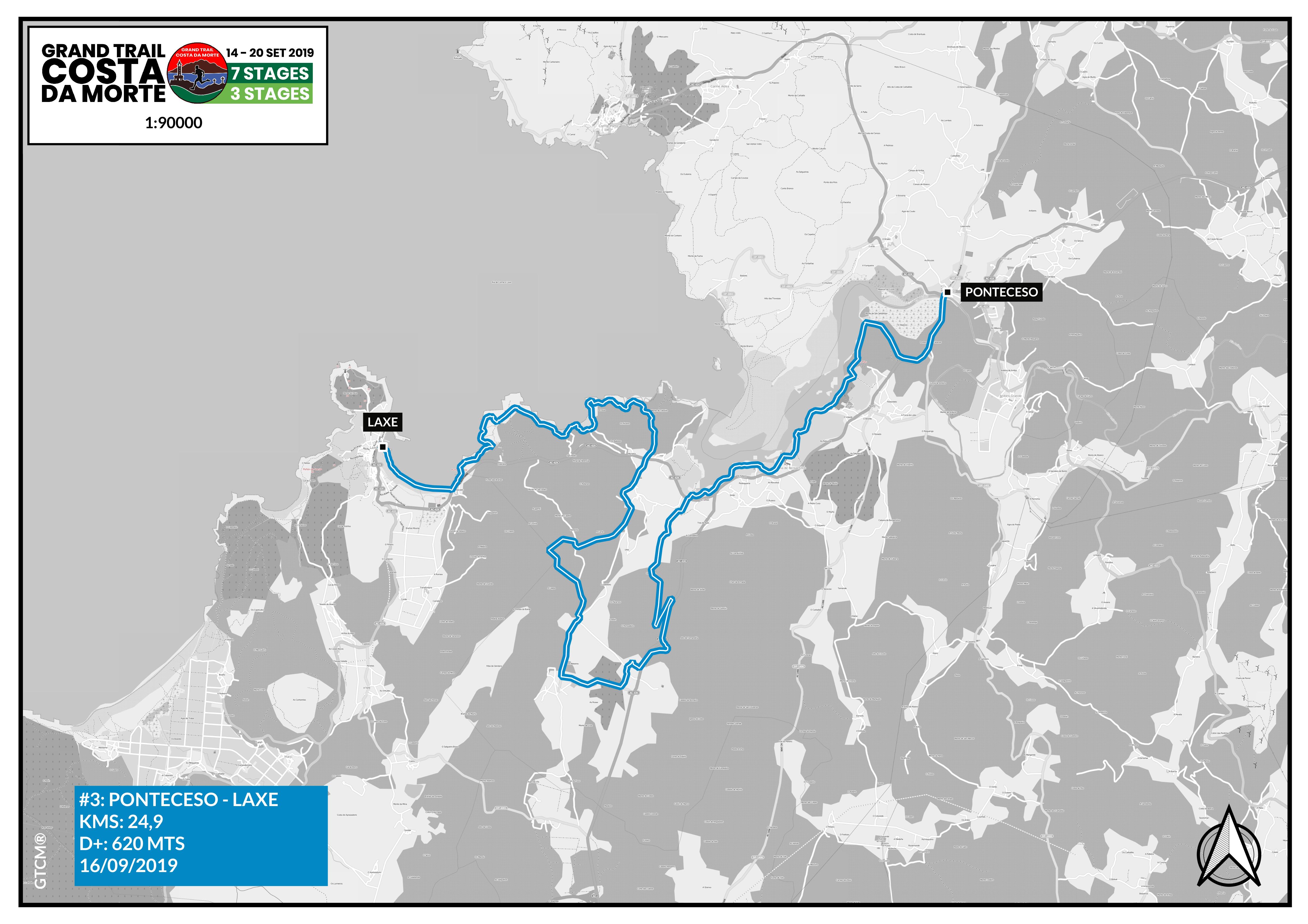Mapa etapa 3 Ponteceso - Laxe
