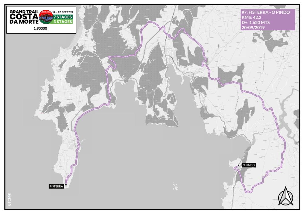 Mapa etapa 7  Fisterra - O Pindo